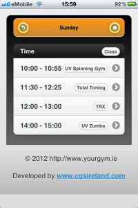 Class booking app todays classes screen